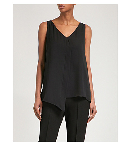 ST JOHN V-neck sleeveless silk top (Caviar