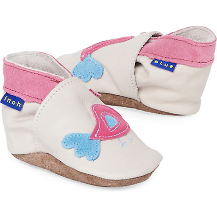 INCH BLUE Bird d'amour booties 0-18 months (Cream+fushcia