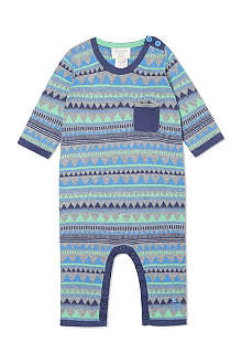 BONNIE BABY Blue geometric fairisle playsuit 0-12 months
