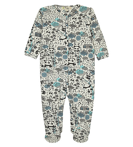 BONNIE MOB Printed organic cotton baby-grow 0-12 months (Panda+print+blue