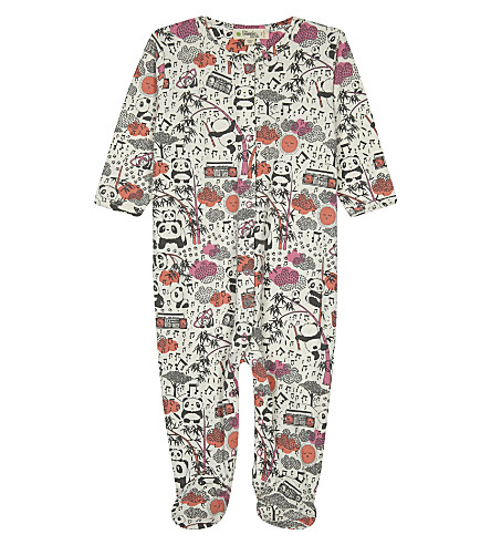 BONNIE MOB Printed organic cotton baby-grow 0-12 months (Panda+print+pink