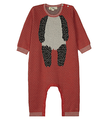 BONNIE MOB Knitted organic cotton panda motif baby-grow 0-12 months (Sorbet+pink