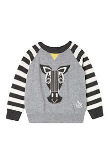 BONNIE BABY Striped sleeve zebra jumper