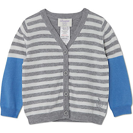 BONNIE BABY Fine knit striped cardigan 3 months-5 years (Blue