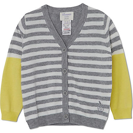 BONNIE BABY Fine knit striped cardigan 3 months-5 years (Yellow