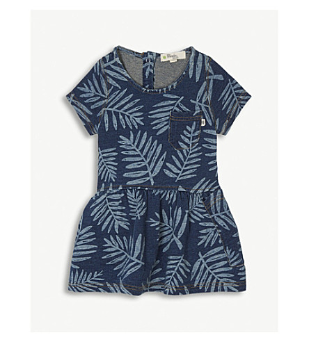 BONNIE MOB Palm print cotton denim dress 6-24 months (Palm+print