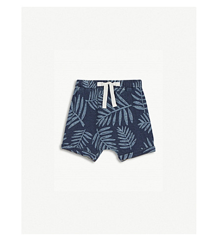 BONNIE MOB Leaf print denim shorts 12-18 months (Palm+print