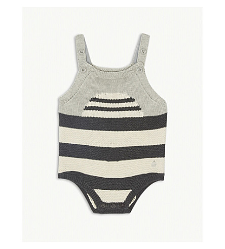BONNIE MOB Striped knitted romper suit 0-12 months (Monochrome