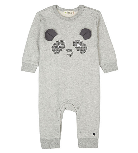 BONNIE MOB Panda cotton playsuit 0-12 months (Grey