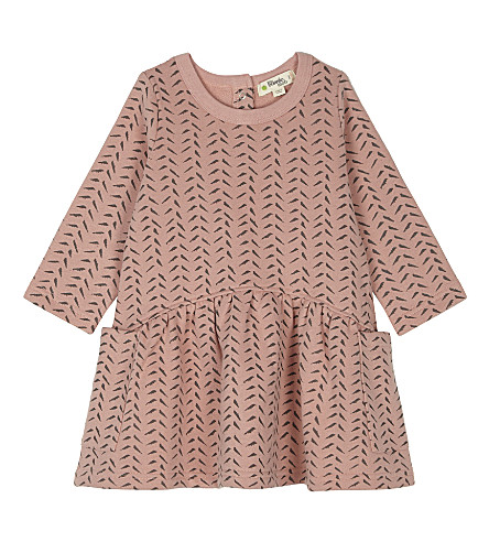 BONNIE MOB Bamboo print cotton-blend long-sleeved dress 6-24 months (Powder+pink