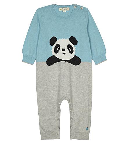 BONNIE MOB Panda print cotton baby-grow 0-12 months (Pale+blue