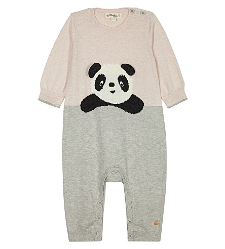 BONNIE MOB Panda print cotton baby-grow 0-12 months (Pale+pink