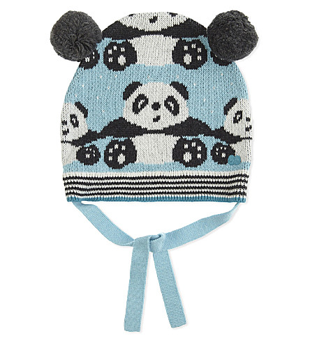 BONNIE MOB Panda print cotton-cashmere blend beanie hat 0-24 months (Pale+blue