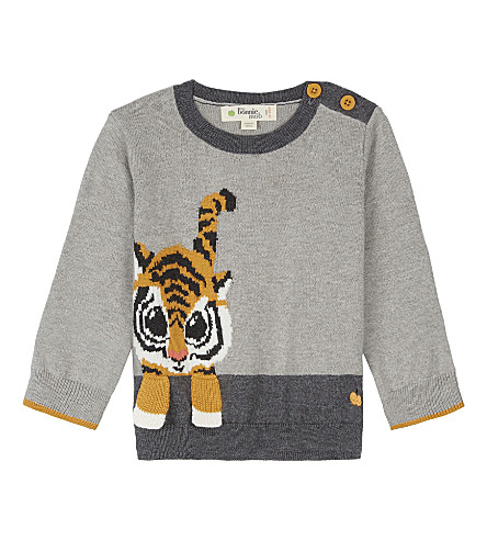 BONNIE MOB Tiger print cotton-cashmere blend jumper 6-24 months (Grey