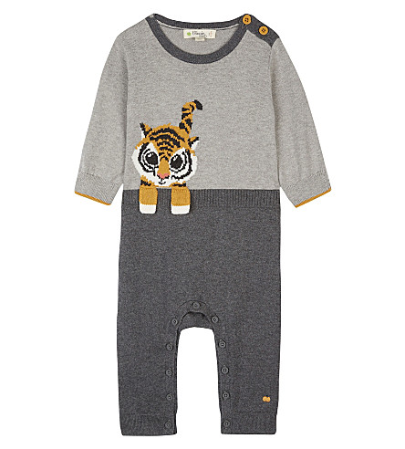 BONNIE MOB Tiger print cotton playsuit (Grey