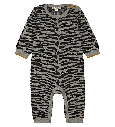 BONNIE MOB Knitted tiger stripe babygrow 0-12 months (Grey