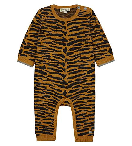 BONNIE MOB Knitted tiger stripe babygrow 0-12 months (Honey
