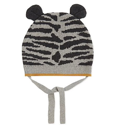 BONNIE MOB Tiger stripe cotton-cashmere knitted hat 0-12 years (Grey