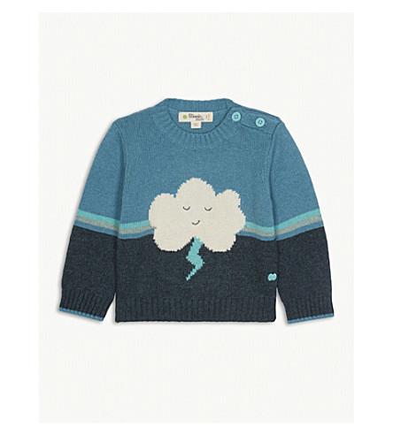 BONNIE MOB Cloud motif cotton-blend jumper 0-12 months (Teal