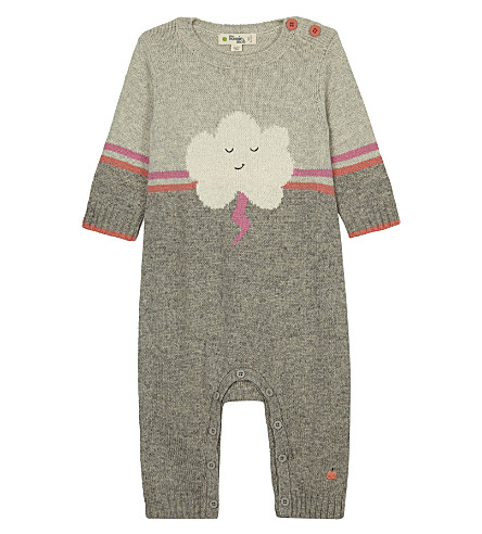 BONNIE MOB Cloud motif wool-blend baby-grow 0-12 months (Pinks