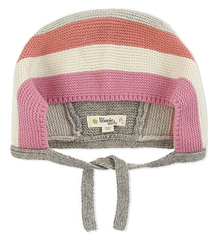 BONNIE MOB Knitted striped bonnet hat 0-12 months (Pinks