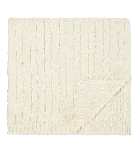 NATURES PUREST Cable knit cotton blanket (Cream