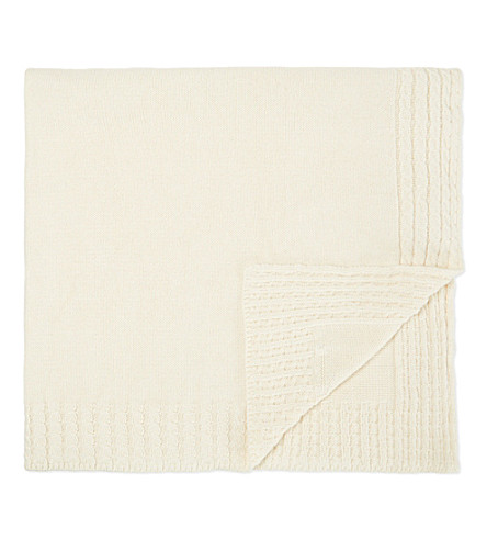 NATURES PUREST Knitted cotton blanket (Cream