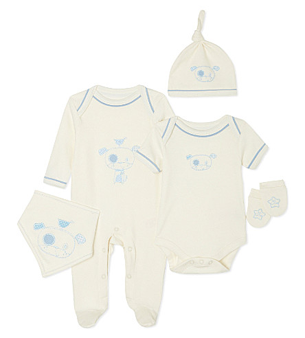 NATURES PUREST So Cute five piece set 0-3 months (Cream/blue