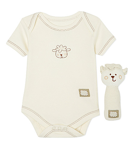 NATURES PUREST Sleepy Sheepy bodysuit and rattle 0-3 months (Cream
