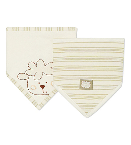 NATURES PUREST Set of two striped bibs (Cream