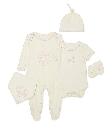 NATURES PUREST So Sweet five piece set 0-3 months (Cream/pink
