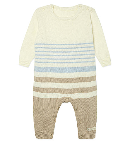 NATURES PUREST Striped knitted cotton all-in-one 0-3 months (White