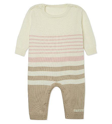NATURES PUREST Striped sleepsuit 0-3 months (White