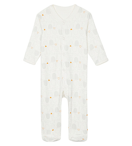 NATURES PUREST Elephant cotton baby-grow 0-3 months (Ivory/grey