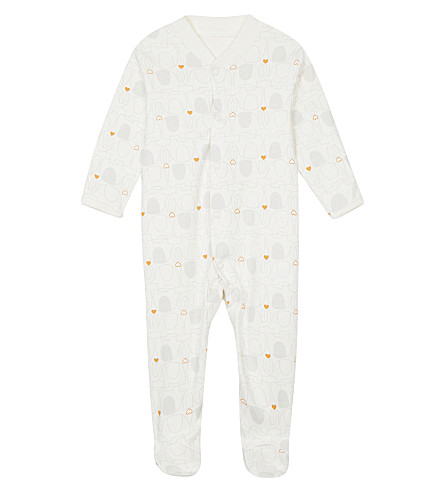 NATURES PUREST Elephant cotton baby-grow 3-6 months (Ivory/grey