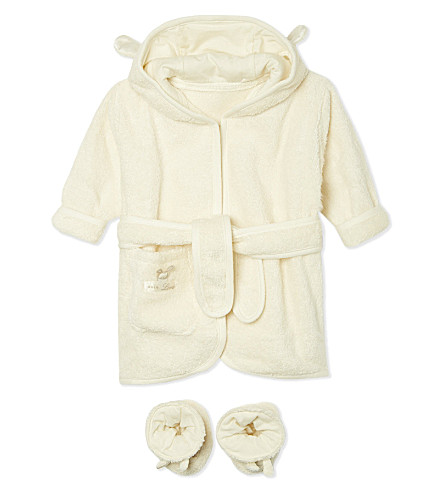 NATURES PUREST Pure Love bathrobe & slippers set 0-6 months (White