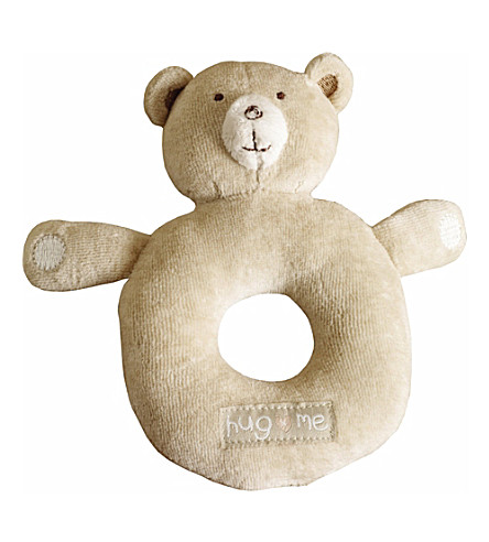 NATURES PUREST Hug Me Bear round rattle (Brown