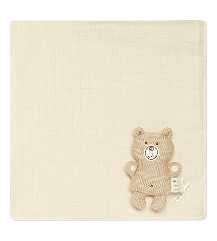 NATURES PUREST Hug Me knitted bear & muslin square set (White