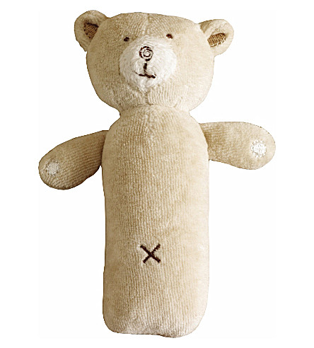 NATURES PUREST Hug Me Bear squeaky rattle (Brown