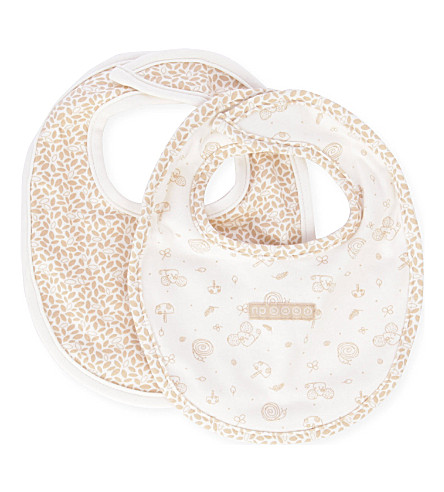 NATURES PUREST Little Leaves set of two bibs (Cream/brown