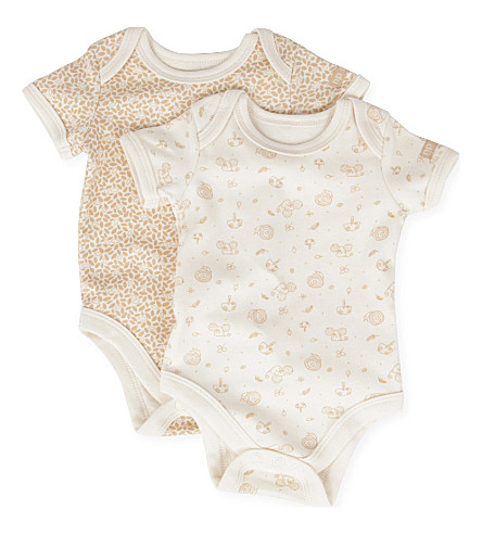NATURES PUREST Little Leaves set of two bodysuits 0-6 months (Cream/brown