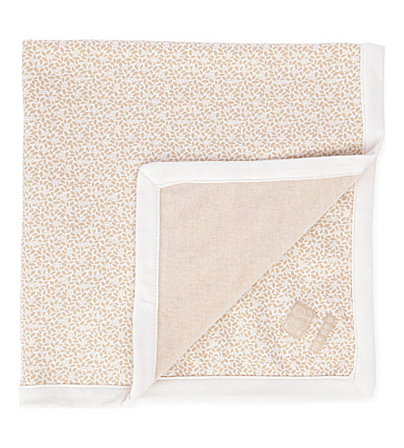 NATURES PUREST Little Leaves Velour Blanket (Cream/brown