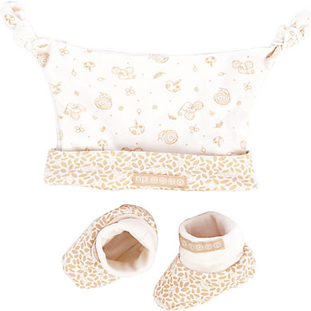 NATURES PUREST Little Leaves Hat Mitts and Bootees set (Cream/brown