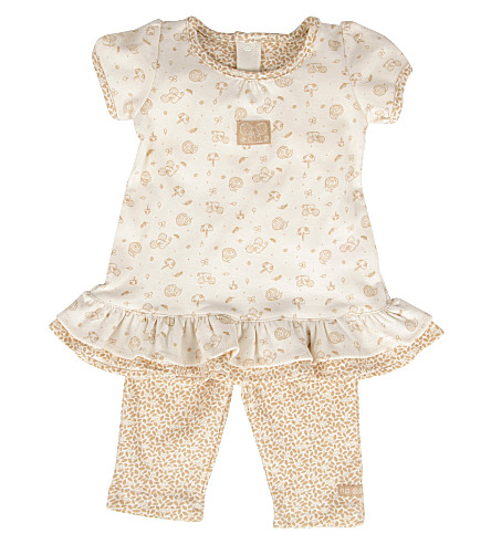 NATURES PUREST Little Leaves dress and leggings 0-6 months (Cream/brown