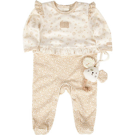 NATURES PUREST Little Leaves baby-grow and toy 0-6 months (Cream/brown