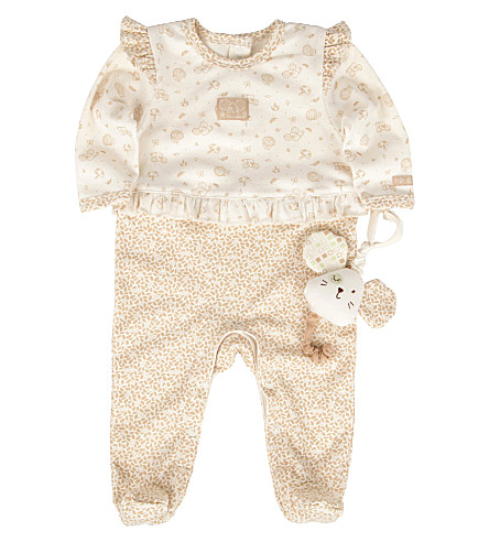 NATURES PUREST Little Leaves babygrow and toy 0-6 months (Cream/brown