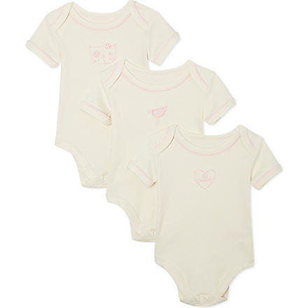NATURES PUREST So Sweet 3 pack of bodysuits 0-3 months (Cream/pink