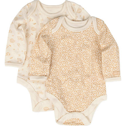 NATURES PUREST Little Leaves two-pack bodysuit set 0-3 months (Cream/brown