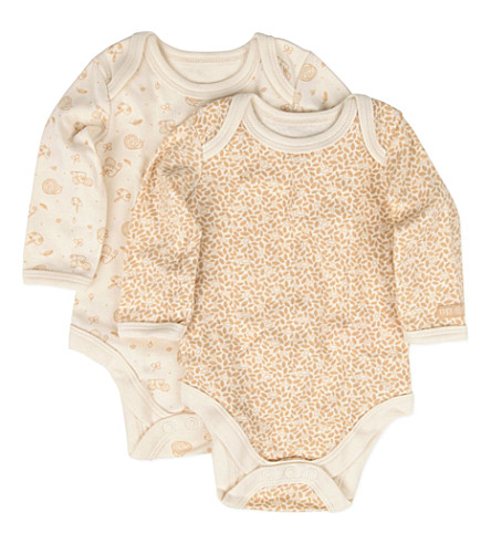 NATURES PUREST Little Leaves two-pack babygrow set 0-3 months (Cream/brown