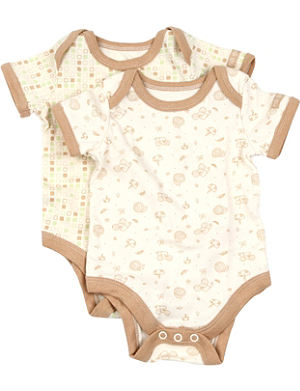 NATURES PUREST Tiny Squares set of two bodysuits 3-6 months